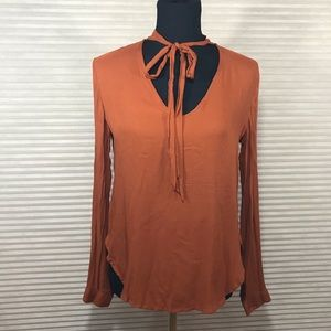 Cloth Stone Anthropologie Orange Popover w Necktie